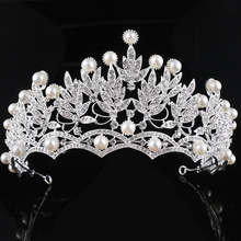 KMVEXO Crystal Pearl Jewelry Silver Plated Tiaras Crown Bridal Wedding Hair Jewelry Rhinestone Queen Pageant Prom Tiara Headband(China)
