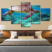 Canvas Pictures Wall Art Framework 5 Pieces Blue Deep Sea Turtle Paintings HD Prints Marine Animal Poster Living Room Home Decor(China)