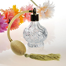 80ML Glass Crystal Women Refillable Perfume Bottle Mesh Atomizer Bulb with Tassels Long Spray Pump Scented Fragrance Atomizer