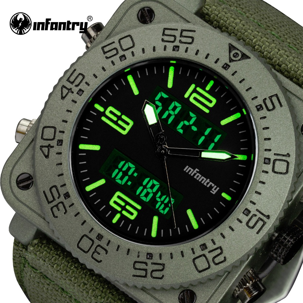 INFANTRY Top Brand Men Watch Sports Military Tactical Quartz Watches LED Analog Digital Durable Nylon Strap Wristwatches Relojes<br>