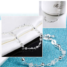 Yanqueens New fashion ladies bracelet chic simple charming crystal beads silver plated bracelet bracelet lady gift free shipping