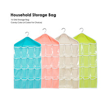 Sweet Candy Color Wardrobe Wall Mounted 16 Grid Storage Bag For Clothing Socks Pants And Stuffed Plush Toys Storage Bags 1Piece(China)