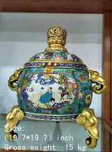 China's gold-plated copper cloisonne mythical figure elephant incense burner
