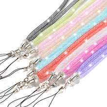 Hot Sales 1 Piece Rhinestone Mobile Phone Strap Fashion Crystal Phone Lanyard Candy Colors Hanging Neck Chain Ropes for Phones
