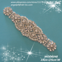 (30pcs) Wholesale bridal hand beaded crystal rhinestone applique iron on for wedding dress WDD0348(China)