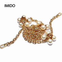 IMIDO 110cm Custom Pearls Accessories Bag Metal Chain Replacement Shoulder Strap for Messenger Bag Handles Women Gold STP041(China)