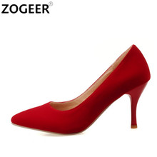 Plus Size 46 2017 New Fashion Classic High Heels Women Pumps Elegant Black red Blue Sexy Office Wedding shoes Woman