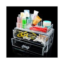 High Quality Acrylic Cosmetic Organizer Large 2 Drawers Holder Jewelry Chest Makeup Case Set
