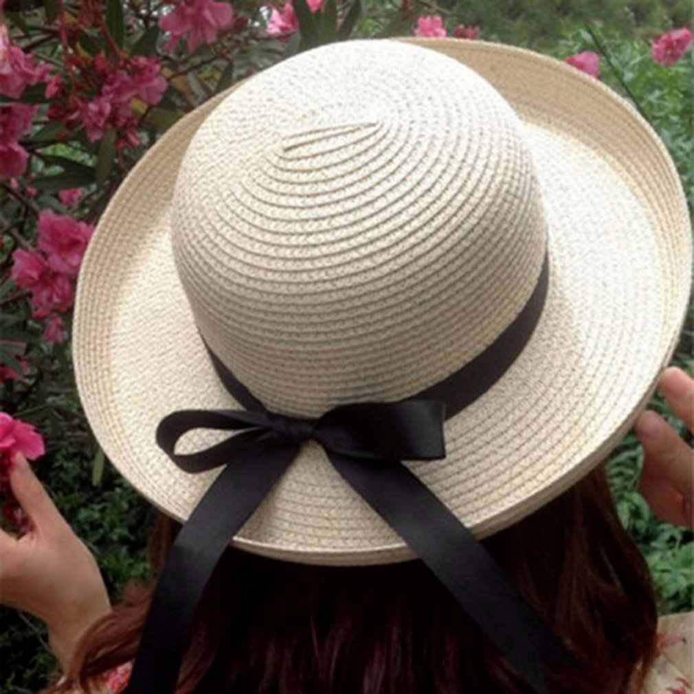 fb53b07a94c 2018 Stylish Women Summer Sun Hat Straw Bow Tie Beach Hat Fashion Vintage  Cap UV Protection