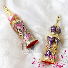 H&D 13ML Vintage Crystal Glass Metal Perfume Bottle Fragrance Empty Lady Gifts Decor(Violet)