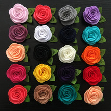 100pcs/lot 18color Mini Felt Fabric Flower hair with Leaf, Felt Flower For hair Clips, Headbands, hair accessories