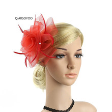 2017 New Girls Show Mesh Hairpin Fascinator European Feather Hair Clip Brooches Beige Red Pink Blue Fancy Party Women Headwear