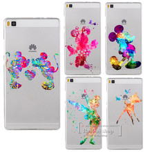Cartoon Kissing Mickey Minnie Mouse Hard Case For Huawei Ascend P6 P7 P8 P9 P10 Lite Plus 2017 Tinker bell bambi watercolor