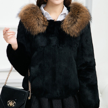 2017 New Brand Fur Whole Skin Rabbit Fur Coat Real Natural Raccoon Fur Collar True Pure Fur Short Jacket Women Waistcoat KSR35