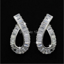 celebrity Style Brand Princess Cut AAAAA zircon 10KT Gold Filled Earrings Gift(China)