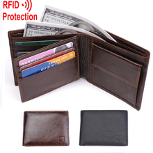 MRF7 2017 new men wallet RFID blocking , zippper coin pocket ,100% top grain cow leather wallet men