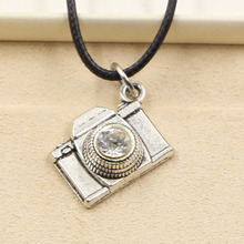 New Fashion Tibetan Silver Pendant camera Necklace Choker Charm Black Leather Cord Factory Price Handmade jewelry(China)