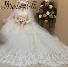 2017 Modern White Arabic Lace High Neck Long Sleeve Wedding Dress Hijab Tulle Satin Trouwjurk Islamic Muslim Bridal Gowns