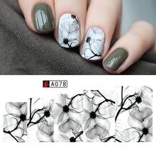 Ink Flowers Pattern Water Decal Elegant Floral Nail Watermark Sticker Manicure Nail Art Transfer Sticker Decal(China)