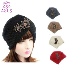 New Fashion Ladies Winter Warm Turban Soft Knit Headband Beanie  Headwrap Women Hat headwear Cap with beaded jewelry
