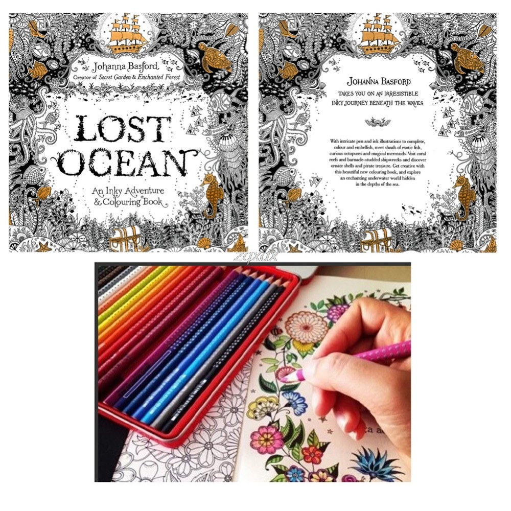 Lost Ocean Drawing Coloring Book Graffiti Books Adult Painting Children New Drop ship(China)