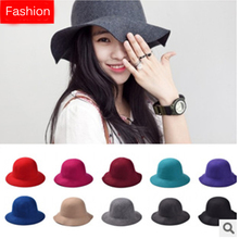 Fashion Women's Fedoras Wool Felt Dome Hat Lady Floppy Trilby Cap Women Blank Fedora Caps Designer Womens Big Brim Bucket Hats(China)