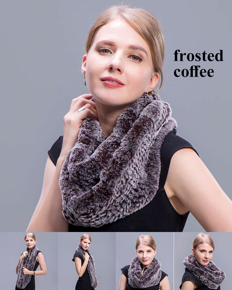 rex rabbit ring scarf frosted coffee 5