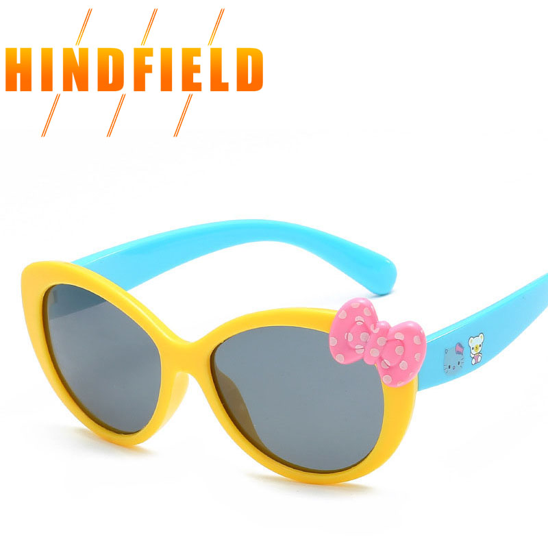 Fashion Polarized Kids Sunglasses Hello Kitty Sun Glasses Eyewear High Quality Silica Gel Luxury Brand UV400(China)