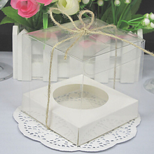 9*9*9cm Transparent Cupcake Boxes With Base Inside