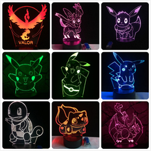 Pokemon Go Action Figure 3D RGB Lamp Pikachu Eevee Turtle Bird Fire Dragon Pokeball Ball Bulbasaur Bay Role Gift Night Light LED(China)