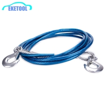 Powerful Steel 4M 5Tons Wire Cable Diameter 10mm Durable Hook Car Emergency Tow Rope Strong Towing Synthetic Winch Rope Cable(China)