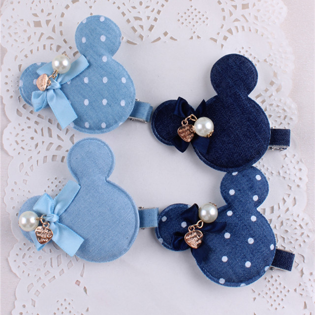 Denim Mickey Baby Girls Hair Clips Polka Dots Minnie With Pearl Tiny Ribbon Bow Hairpin Kids Hair Accessories For Children<br><br>Aliexpress