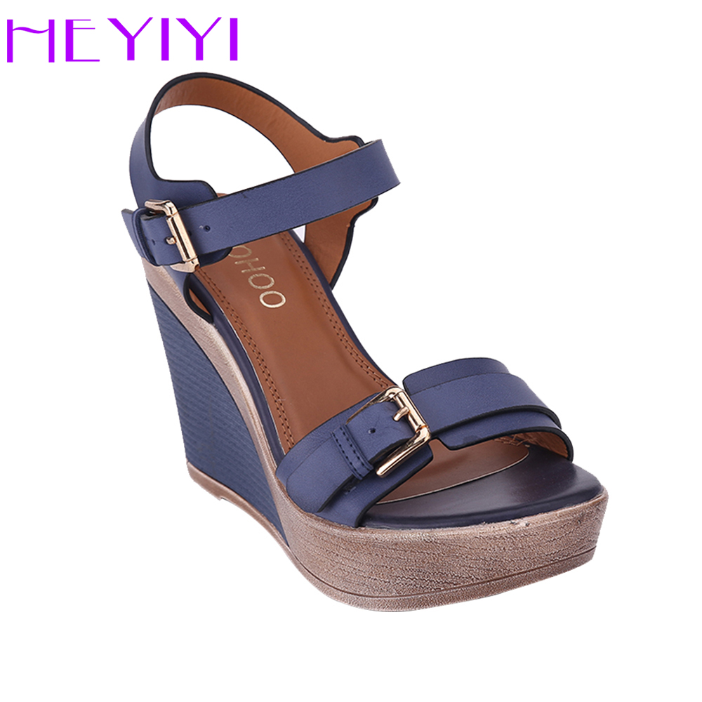 HEYIYI Shoes Women Sandals Platform Wedges High Heels Strap Solid Buckle Strap PU Leather Soft Insole Blue Lightweight Shoes<br>