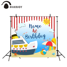 Allenjoy photography background Boat summer beach red child birthday photo backdrops vinyl photocall backdrop personal customize(China)