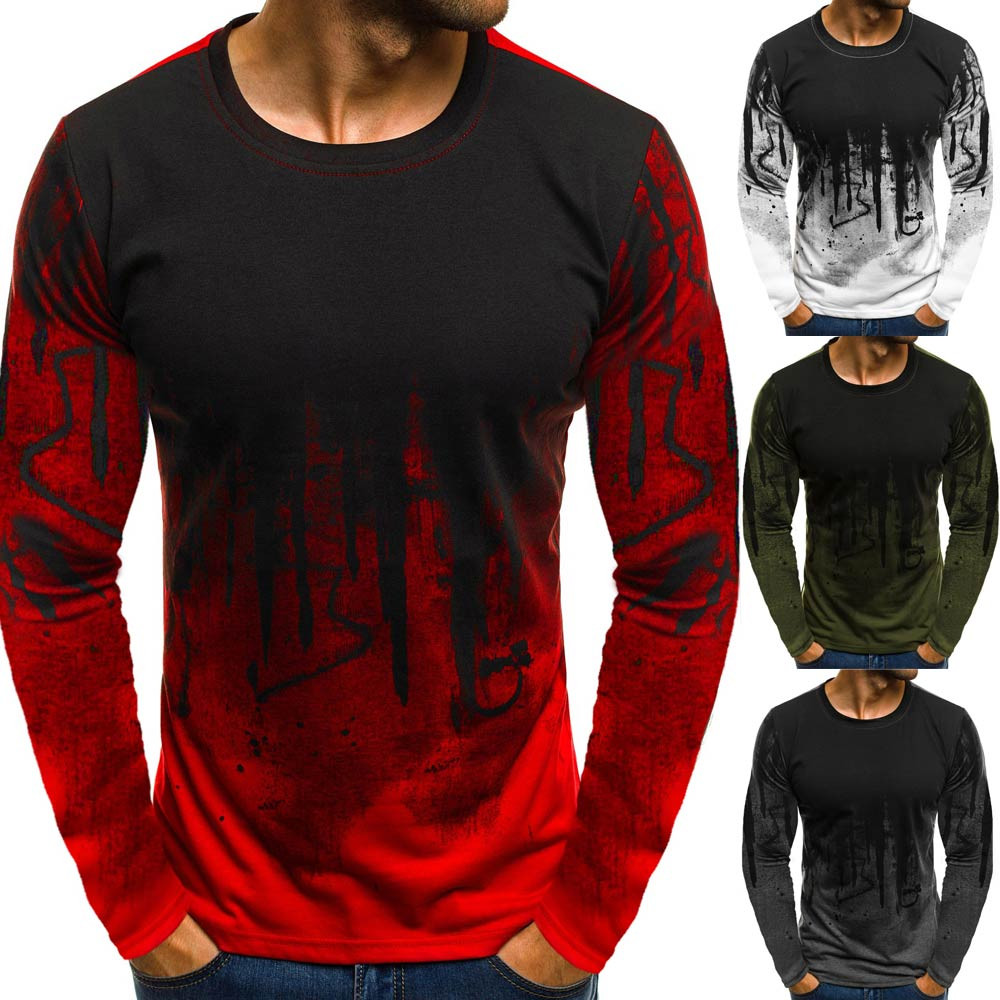 t-shirt men Men Gradient Color Long-Sleeve Beefy Muscle Basic Solid Blouse Tee Shirt Top Casual t-shirt men Cotton New 2019(China)