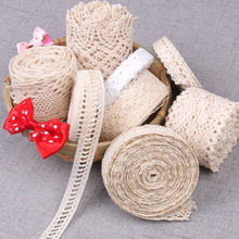 5yards Cotton Lace Ribbon Applique DIY Clothing sewing accessories Lace Trim Fabric Wedding Party Christmas Decoration Crafts(China)