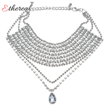 Momdy 2017 Fashion Statement Crystal Choker Set Silver Necklace Collier Lady Collar For Wedding Party Gift Dress Jewellery