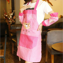 hot Fashion 2PCS/Set Cartoon Shy Bear Kitchen Long Apron Dress With Sleeve cleaning Cooking accessories for home wholesale 2017