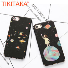 Cute Hard PC Phone Cases For iphone 6 6s plus 7 7plus Stars and Moon Girl Lovely Fashion Women Girl Back Cover Shell Casing