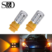 6PCS led Bulbs 3056 3156 3057 3157 p27/7w T20 Cree LED Chips -For car Rear Brake Lights Turn Signal Tail Lamps - Amber D030