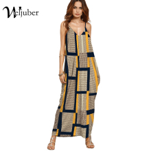 Weljuber Long Maxi Dress 2017 Women Boho Vestidos Summer Strap Dress Beach Wear Strap Deep V Neck Sleeveless Dresses