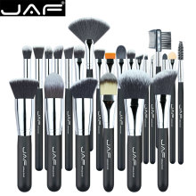 JAF Vegan 24 Pcs Professional Makeup Brushes Very Soft Synthetic Taklon Hair Suitable Gift Metal Box Packing J24SSY-B(China)