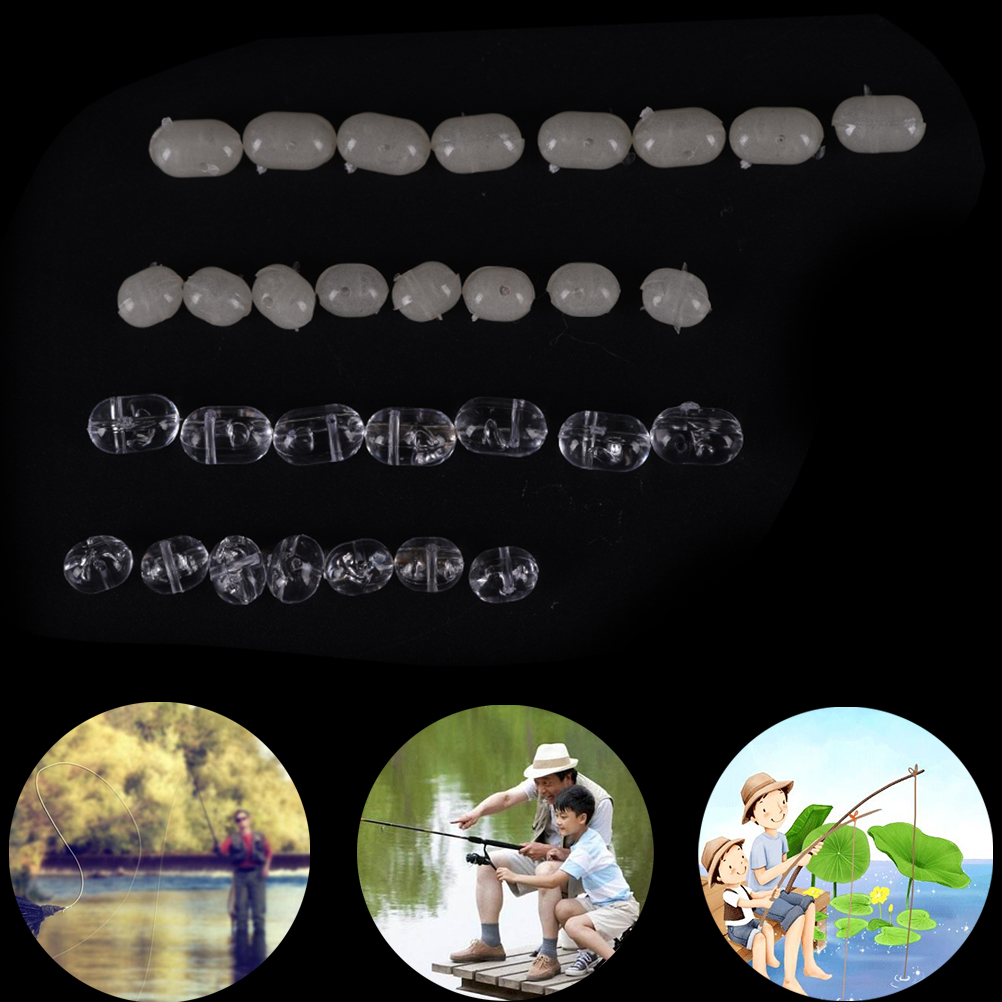 Fishing Tranparent Oval Double Pearl Drill Cross Beads hard Clear beads fishinCN