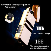 Electronic Display Frequency USB Arc Plasma Lighter Rechargeable Windproof High-end No Gas Charging Cigarette Lighter