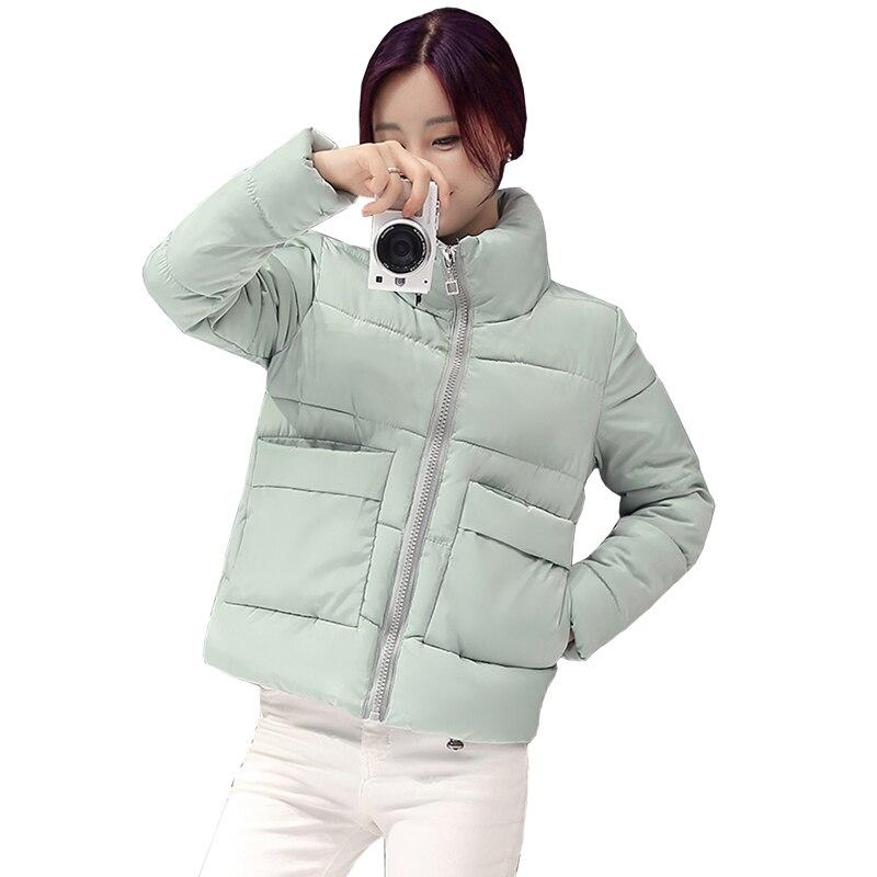Women Winter Jacket Fashion Solid color Short jacket Female Coat Women New Slim Warm Down cotton clothing Long sleeve Coat 4L76Îäåæäà è àêñåññóàðû<br><br>