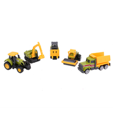 5pcs 1:64 Scale Alloy Truck Models Kids Children Diecast Mini Alloy Construction Vehicles Car Interesting Pull Back Car Toy Set