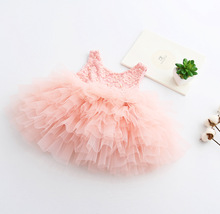 High Quality Children Baby Lace Cake Party Dresses, toddler Girls Princess Flower Bridemaids Dress kids easter clothing