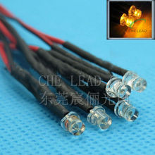 Low price 100x 3mm Prewired LED High bright Yellow 20cm 12V Pre Wire Flat top DIP LED DIY led decoration