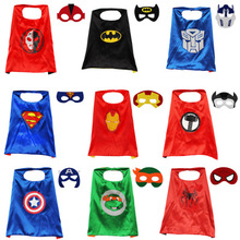 Kid Hero Superman Spiderman Cloaks Iron man Hulk Batman Capes Girls Children Captian America Halloween Cosplay Costumes Eye Mask(China)