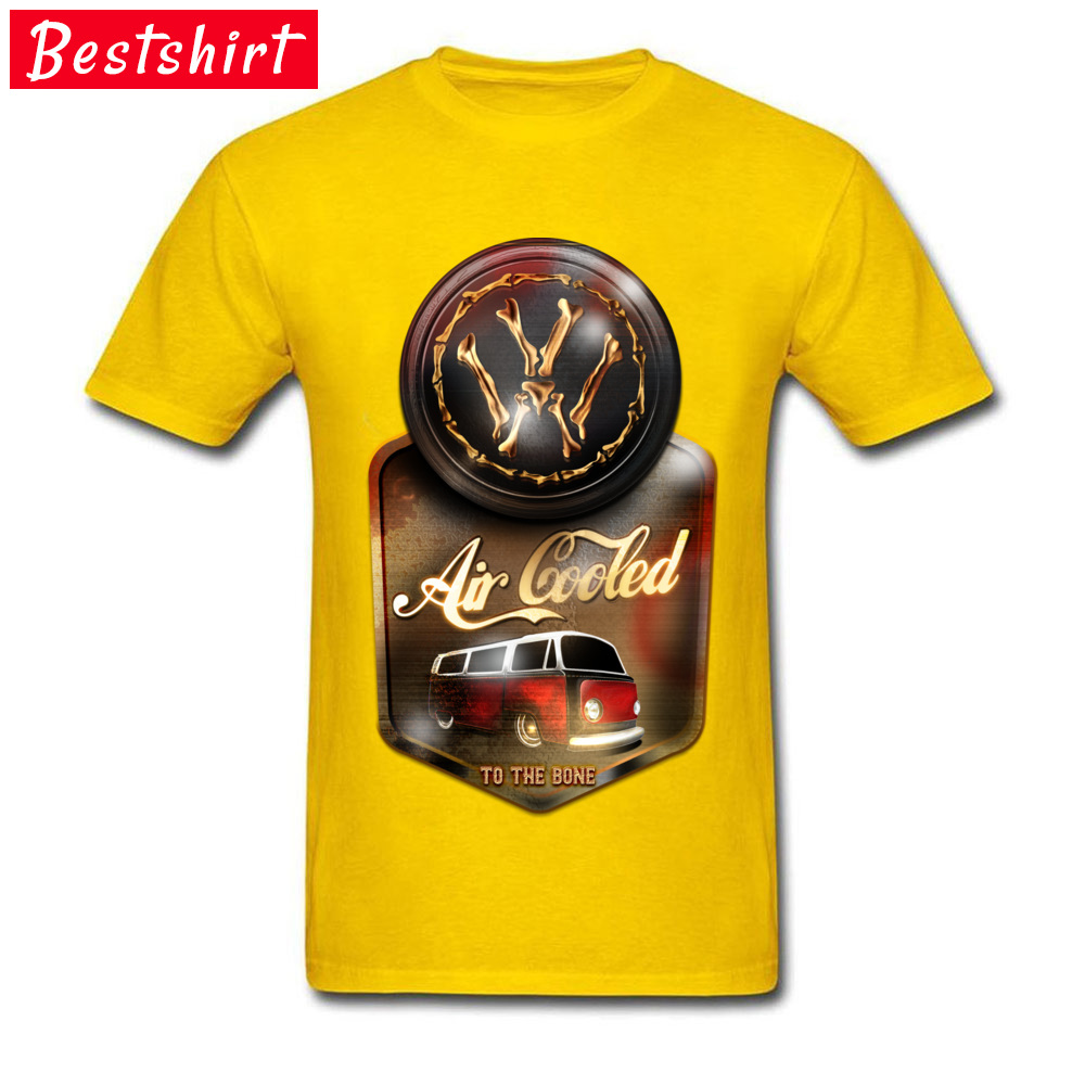 Air Cooled to the Bone Europe NEW YEAR DAY Pure Cotton O Neck Youth Tops & Tees T Shirts 2018 Newest Short Sleeve T-shirts Air Cooled to the Bone yellow